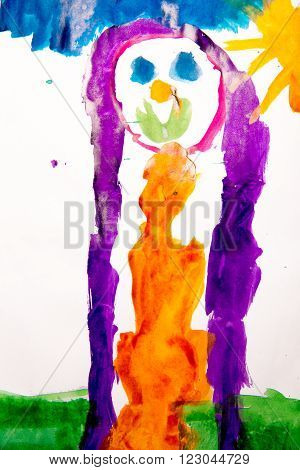 children's drawing of the girl on the sun drawn with a water color on white paper a brush