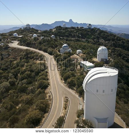 TUCSON, ARIZONA, FEBRUARY 28. Kitt Peak National Observatory on February 28, 2016, near Tucson, Arizona. An aerial shot of ten telescopes at Kitt Peak National Observatory near Tucson Arizona.