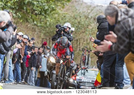 Conflans-Sainte-HonorineFrance-March 62016: The Australian cyclist Richie Porte of BMC Racing Team riding during the prologue stage of Paris-Nice 2016.