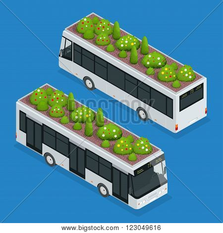 Green roofs on bus. Eco roof on bus. Flat 3d vector isometric illustration of eco roof