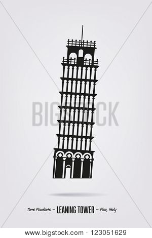 Silhouette vector poster with the leaning tower at Pisa, Italy.