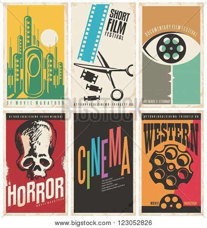 Collection of retro movie poster design concepts and ideas. Vintage cinema posters set. Western movies, documentary film, horror, science fiction, short film festival and cinema flyer templates.