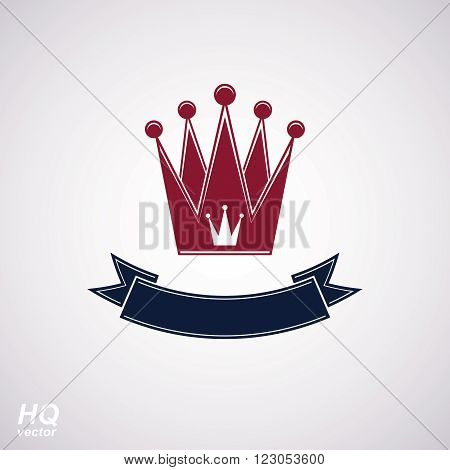 Vector imperial crown with undulate ribbon. King regalia design element isolated on white background.