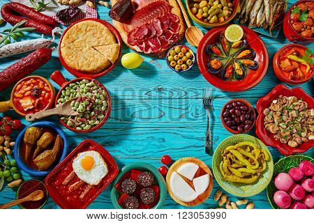 Tapas from spain mix of most popular recipes of Mediterranean cuisine poster