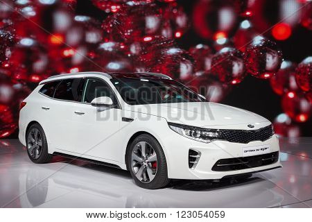 GENEVA, SWITZERLAND - MARCH 1, 2016: New Kia Optima SW GT presented at the 86th International Geneva Motor Show in Palexpo, Geneva.