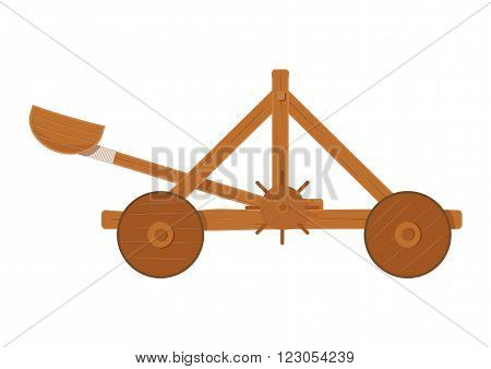old medieval wooden catapult shooting stones vector illustration . catapult on white background. wooden catapult isolated vector.
