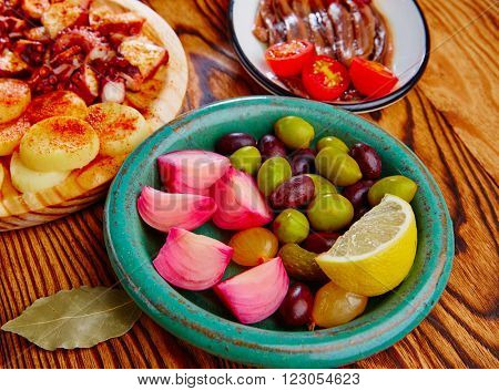 Olives and onion pickles tapas with anchovies and octopus gallega