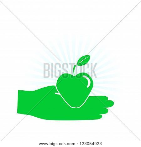 An apple a day. Hand holding an apple. Concept of health care, temptation, harvest, dieting and vegetarian. Icon.