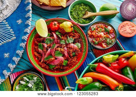 Cochinita Pibil Mexican platillo food with red onion and coriander
