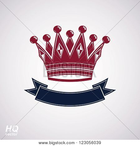 Vector imperial crown with undulate ribbon. King regalia design element isolated on white background. poster