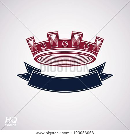 Vector imperial crown with undulate ribbon. Classic coronet