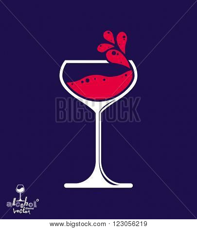 Simple Vector Wine Goblet With Splash, Alcohol Idea Illustration. Stylized Artistic Glass Of Wine, R
