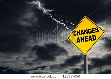 Changes Ahead Warning Sign In Thunderous Background
