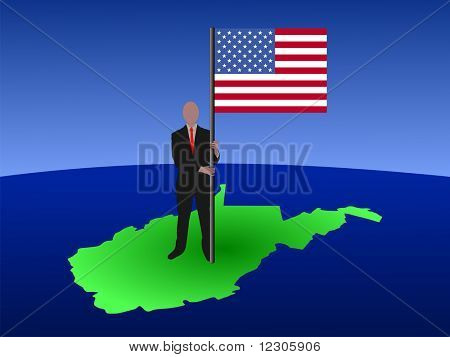 business man standing on map of West Virgina with flag JPG