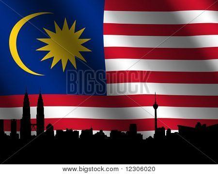 Kuala Lumpur skyline and Petronas Towers with rippled Malaysian flag illustration