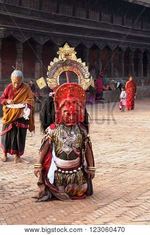 BHAKTAPUR NEPAL - APRIL 19 2013: Unidentified Lama ready to perform a ritual dance called Bhairav Dance in . Bisket Jatra is a Hindu festival that provoitsya in Bhaktapur during the celebration of Nepali New Year.