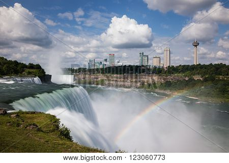 America and Canada Niagara Falls with Rainbow and Cloudy