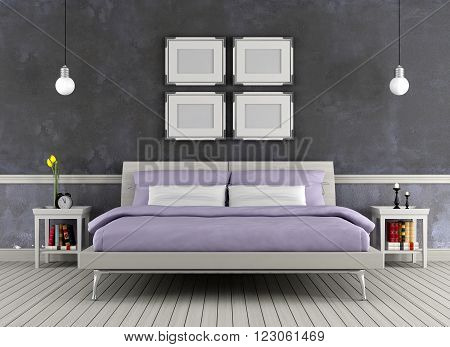 Modern double bed in a vintage room - 3D rendering