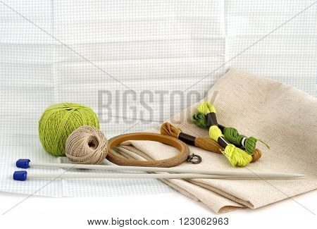 Tools and materials for handamde and handiwork - sewing, embroidery, knitting poster