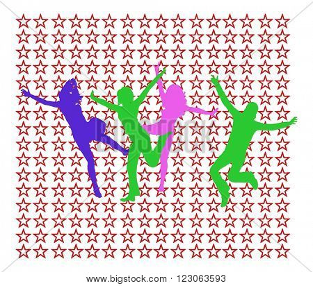 Hurray Team Success Concept - colorful silhouettes of people jumping