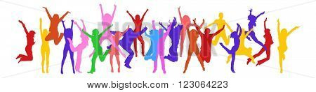 United Colleagues Hurray Team - colorful silhouettes of people jumping
