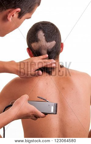 Closeup Of The Back Of Man Head While His Hair Is Cut In A Funny Way, Fun Concept