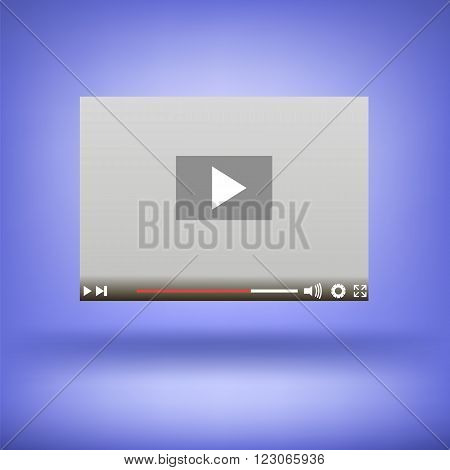 Video Player Icon Isolated on Soft Blue Background