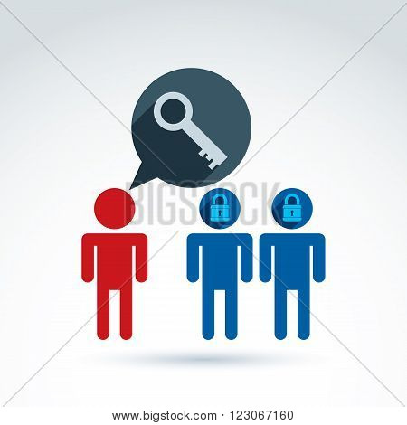 Padlock lock conceptual vector icon, unlock your mind, unlock your perception, ideological mentor and leader