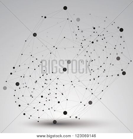 Spatial Vector Monochrome Digital Object, 3D Technology Figure With Geometric Elements And Black Wir