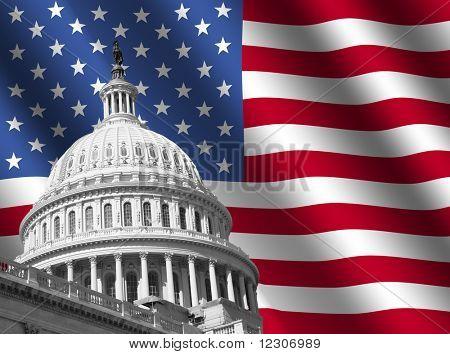 Kuppel des Kapitol Gebäude von Washington DC mit gewellten amerikanische Flagge