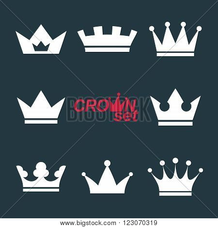 Business conceptual icons can be used in graphic and web design. Set of vector vintage crowns luxury ornate coronet illustration. Collection of royal luxury design element.
