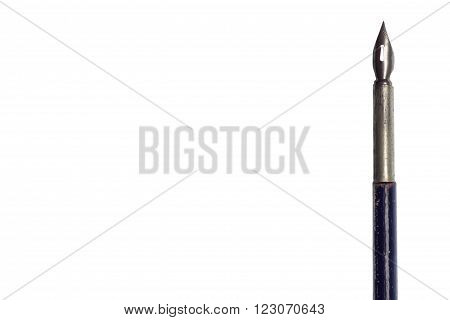 Disused old ink pen. Located on the side with a place to insert text. Isolated on white.