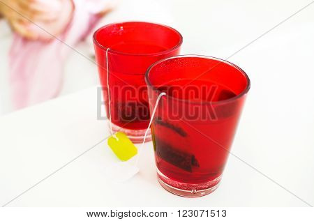 herbal tea tisane infuse red glasses isolated white background