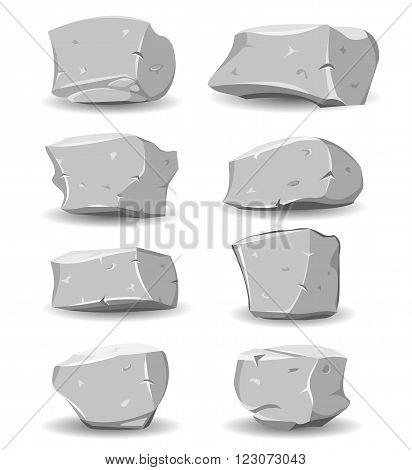 Illustration of a set of cartoon big boulders rocks and stones of multiple shapes and sizes for game ui scenics
