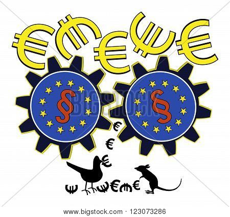 EU is wasting Money. Satiric concept sign of how European subsidy policy and bureaucracy destroys funds