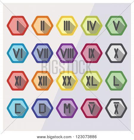 Roman numerals flat icon set in different colors with examples date 23 and year 2016. Roman numbers from 1 to 12 20 40 50 100 500 1000 5000 and 10k. Vector illustration