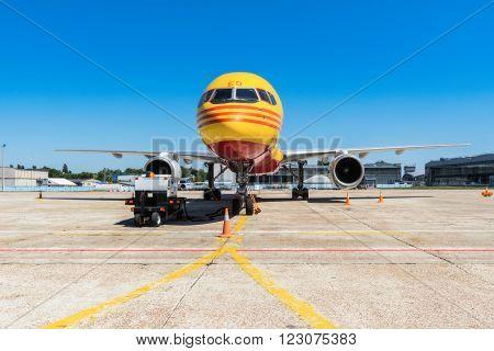 Ukraine, Borispol - MAY 22 : The Boeing 757-200 to transport cargo company DHL at Borispol International Airport on May 22, 2015 in Borispol, Ukraine