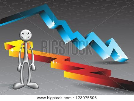 The man standing on the background of bulk arrows. Design vector illustration.