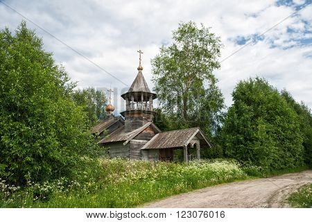 Old rustic wooden church the chapel of St. Nicholas Karelia Russia