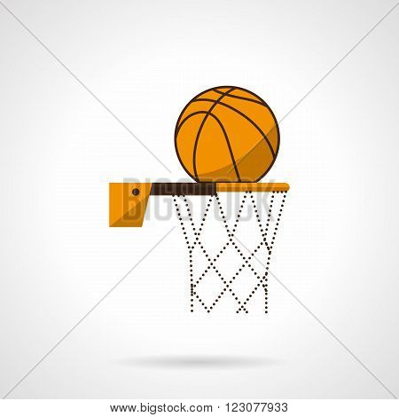 Basketball hoop with net and orange ball. Basketball game. Sport lifestyle. Team competitive. Vector icon flat color style. Web design element for site, mobile and business.