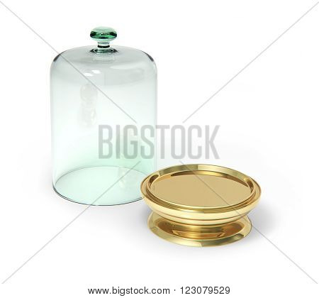 Gold stay with open glass bell isolated on white  3D rendering