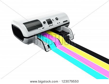 Ink-jet printer with printed CMYK lines isolated on white 3D rendering