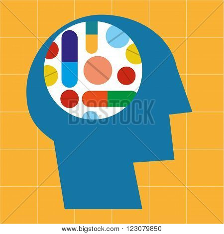 Stylized human head in profile with various drugs and pharmaceuticals arranged in a colorful pattern in the brain area