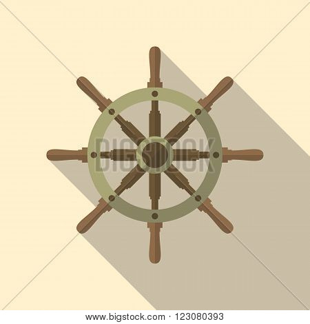 Ship's wheel vector flat icon with long shadow.
