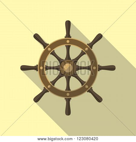 Ship's wheel or boat's wheel vector flat icon with long shadow.