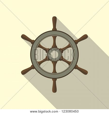 Ship's or boat's wheel vector flat icon with long shadow.