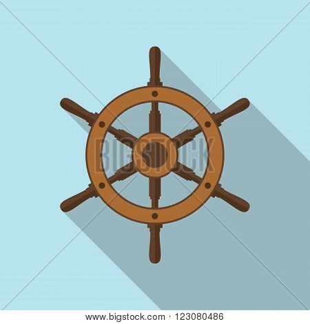 Boat's steering wheel flat icon with long shadow. EPS10 vector illustration.