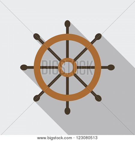 Ship's or boat's wheel vector icon in flat style with long shadow.