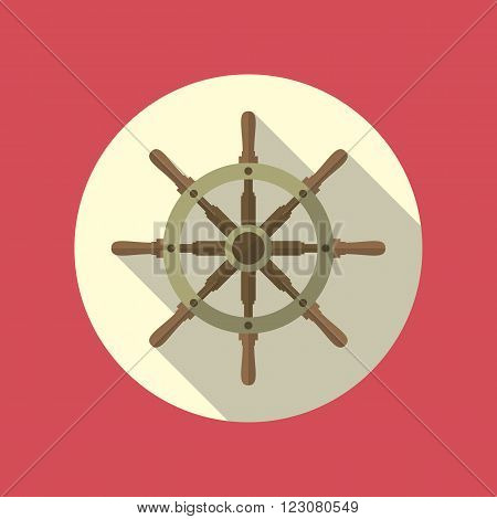 Boat's wheel vector flat icon inside the circle. EPS10 vector illustration.