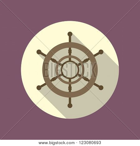 Boat's wheel vector flat icon inside the circle.
